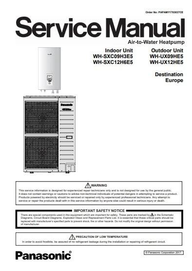 Сервисный мануал Panasonic Aquarea T-CAP (Bi Bloc)